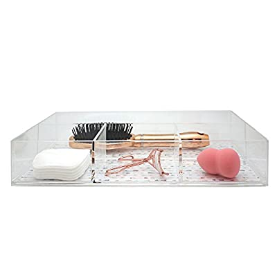 Danielle 4-Compartment Acrylic Makeup Organizer, Arrows - High quality acrylic makeup organizer with 4 compartments Measures approximately 13.8 x 7.9 x 2.6-inches Features a base with an pretty arrow pattern - organizers, bathroom-accessories, bathroom - 41oqEtDChBL. SS400  -