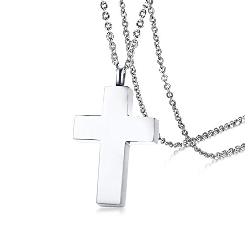 - XUANPAI Memorial Keepsake Jewelry Stainless Steel Cross Pendant Urn Necklace for Ashes for Men Women