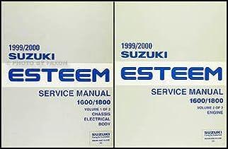 1999 2000 suzuki esteem repair shop manual set original suzuki rh amazon com 1999 Suzuki Esteem Specs 2000 Suzuki Esteem Engine Specs