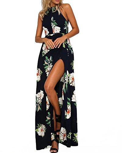 Romacci Women's Sleeveless Halter Neck Maxi Dress Vintage Floral Print Backless Beach Long Dresses S-5XL,Blue/Black (XL, Dark Blue) - Dresses Backless Formal
