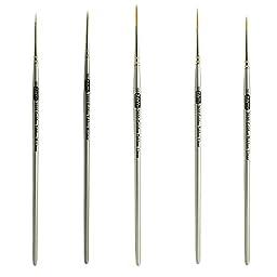 Golden Taklon Mini Detail Brush Set Liner 20/0, Mini Liners 20/0, 10/0, Details 10/0, 5/0
