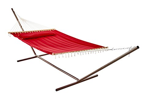 Smart Garden 52325-BNP Monte Carlo Double Quilted Hammock, Bossa Nova Red, Reversible Design Allows Plain or Stripe Design to be Displayed, 500-Pound Capacity
