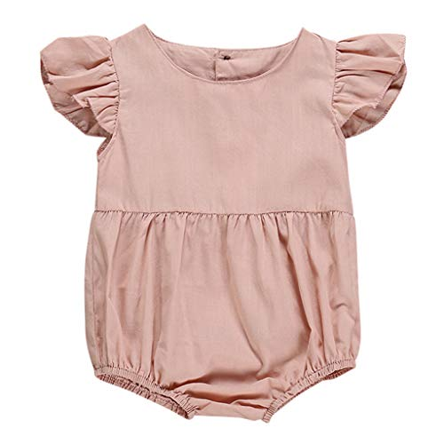 Newborn Infant Baby Girl Cotton Linen Fly Sleeve Romper Bodysuit Solid Color Summer Breathable Outfits Set (Pink, 6-12 Months)