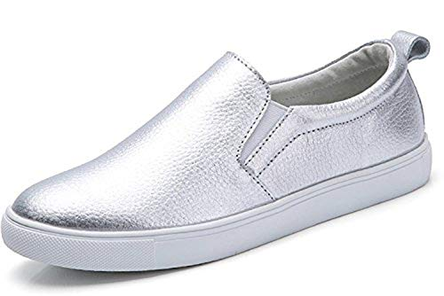 TSIODFO Women Slip on Loafers Flat Platform Breathable Comfort Walking Shoes Genuine Cow Leather Fashion Sneakers Youth Big Girls Spring Autumn Ladies Casual Oxford Shoes Silver 5 (505-Silver-36)