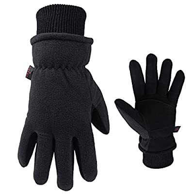 OZERO Winter Gloves, Coldproof Insulated Thermal Glove - Deerskin Palm & Polar Fleece for Driving Motorcycle Cycling Running - Windproof & Water Resistant - Warm Hand in Cold Weather for Men and Women