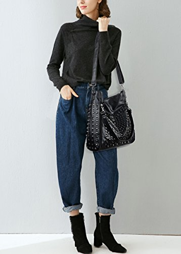 Style Leather Washed Skull Studded Bag Women Black Ladies UTO Bag PU 6 Rivet Shoulder Tote Purse Yn6AU5xq