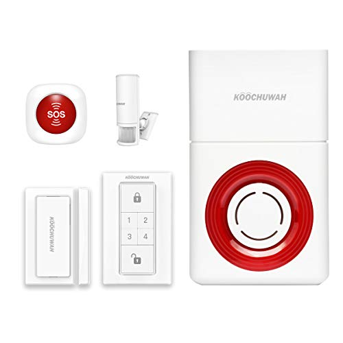 Wasan GSM Wireless Home Security Alarm System Alert Auto Dial SMS, Audible and Visual Outdoor Burglar Alarm Host + SOS Emergency Pager Button + Magnetic Door Window Contact + 360° ()
