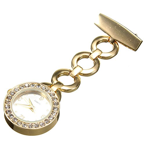 GlobalDeal Luxury Rhinestone Round Dial Nurse Watch Brooch Pin Quartz Fob Pocket Watch (Golden) from GlobalDeal