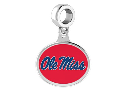College Jewelry Mississippi Ole Miss Rebels Drop Charm Fits All European Style Beaded Charm Bracelets ()