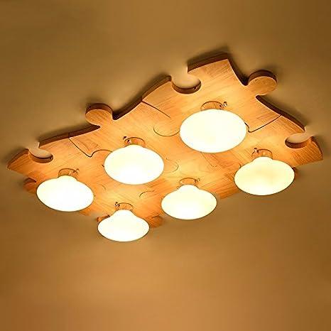 gqlb lámpara de techo de madera LED creativa Puzzle vida luz ...