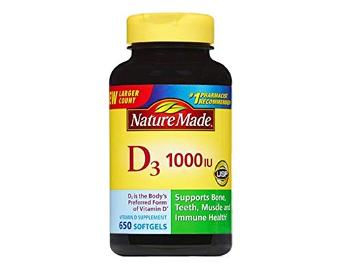 Nature Made Vitamin D3 1000 IU, Mega Size, 650-Count Softgels (Natures Made Vitamin D)