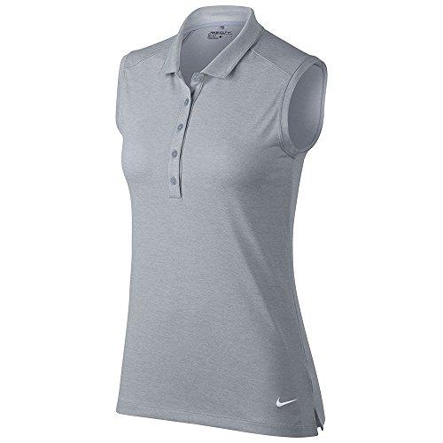 Nike Women's Dri-Fit Icon Sleeveless Golf Polo-Light Heather Grey-XL