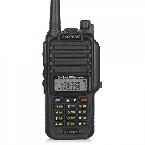 BaoFeng 1 Pack GT-3WP PoFung GT-3WP Dual Band Two-way Radio, Waterproof Dustproof IP67 Walkie Talkie Transceiver, VHF/UHF 136-174/400-520MHz, Black (Cross 2 Commercial Step)