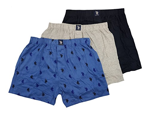 U.S. Polo Assn. Men's 3 Pack Knit Boxers Assorted (Black/Heather Grey/Blue Multi Logo, ()