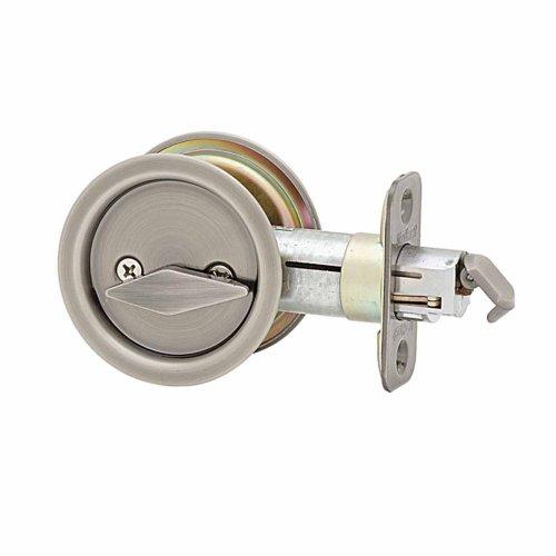 Kwikset 335 Round Bed/Bath Pocket Door Lock in Antique Nickel - Kwikset Pocket Door Lock