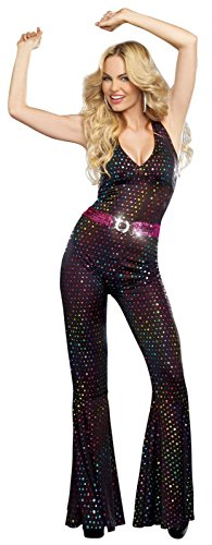 Disco Adult Costumes (Dreamgirl Women's Disco Doll Costume, Black, Small)