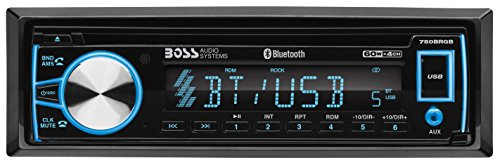 (BOSS Audio 750BRGB Car Stereo - Single Din, Bluetooth, CD/MP3/USB/WMA AM/FM Radio, Detachable Front Panel, Multi Color Illumination)