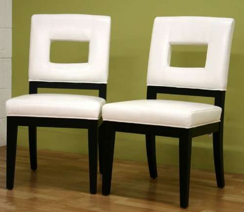 Excellent Amazon Com Set Of 2 Dining Chairs With Hole Back In White Creativecarmelina Interior Chair Design Creativecarmelinacom