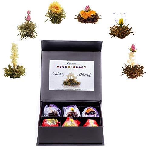 Creano Mix de 6 Flores de Te Fior di Tè - Te en Elegante Caja Magnetica con Relieve de Plata | Te blanco y negro
