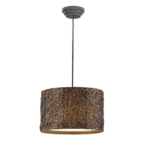 Knotted Rattan 3 Light Modern Hanging Shade Chandelier Espresso