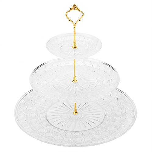 Cake Stand and Fruit Plate, 3-Tier Acrylic Round Cake Tray Fruits Nuts Desserts Display Holder for Cakes Desserts Fruits Candy Buffet Stand for Wedding & Home & Birthday Party Serving (Multi Tiered Base)
