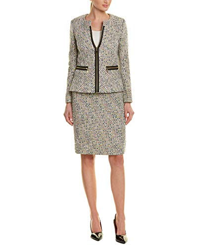 Tahari by ASL Women's Novelty Tweed Skirt Suit Ivory/Black/Yellow 8