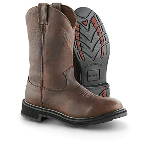 Guide Gear Men's Waterproof 12' Pull-On Leather Work Boots, Brown, 10.5D (Medium)