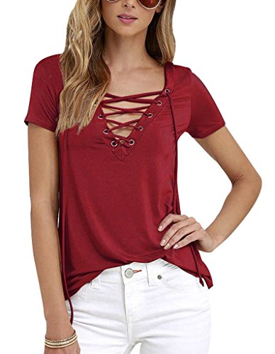 Sumtory Women's Sexy V Neck Bandage Short Sleeve T Shirt Tops – Small, Winered