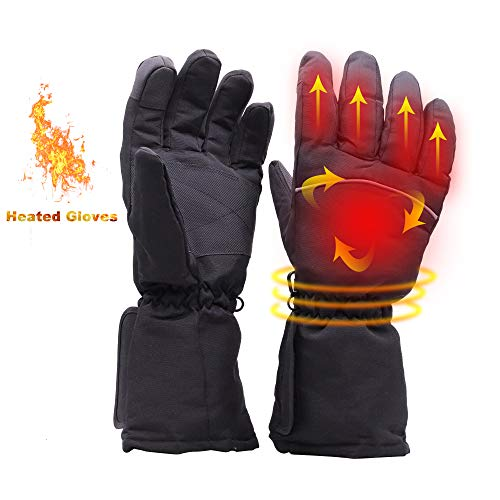 YIZRIO Heated Gloves Men&Woman Battery Powered Winter Warmer Gloves Heated Mittens Waterproof Thermal Gloves Touchscreen for Skiing Walking Hiking Climbing