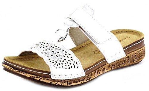 MARCO TOZZI Damen Sommer Pantolette mit dezentem Keilabsatz silver