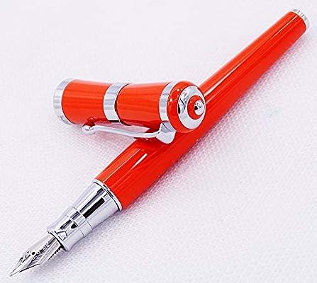 Fuliwen 2051 Pluma estilográfica de metal, punta fina de color naranja con estuche para bolígrafos: Amazon.es: Oficina y papelería
