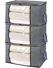 Housecraft Lot de 3 sacs de rangement épais pliables avec grande fenêtre transparente et poignées de transport pour vêtements, couverture, placard sous lit, dortoir, chambre à coucher