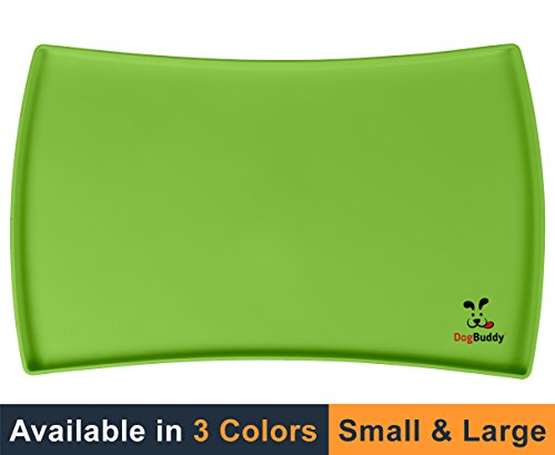 Pet Bowl Placemat - NEW! DogBuddy Dog Food Mat, Small (19x12) or Large (24x16), Non Slip Dog Food Tray, FDA Silicone Dog Placemat, Washable Pet Food Mat, Waterproof Pet Dog Feeding Mat, Dog Food Mats for Floors, Kiwi