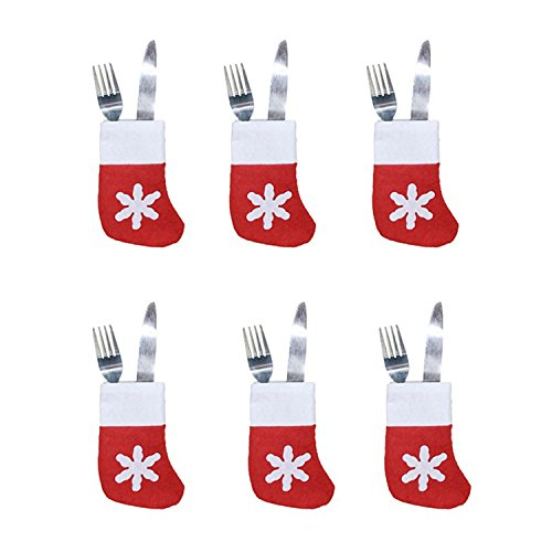 (HMILYDYK Christmas Stockings Flannel Tableware Holder Set Cutlery Bag Hanging Ornaments Assorted Santa Gift Supplies for Xmas Tree Decoration,6Pcs)