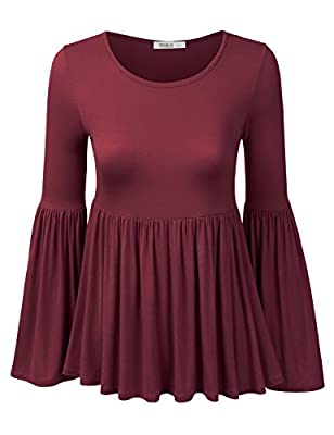 Doublju Womens Long Bell Sleeve Flared Ruffle Blouse Top (Made In USA)