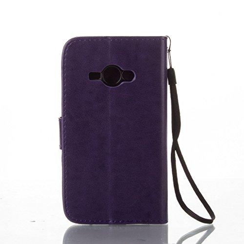 JIALUN-Personality teléfono shell Funda Samsung Galaxy J1 ACE, color sólido Retro Folio Case Wallet Kickstand con correa de mano Protecitve Shell funda para Samsung Galaxy J1 ACE Seguridad y Moda ( Co Purple