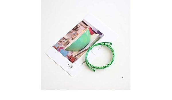 GLGSHOULIAN Pulsera Trenzada,La Moda Verde Pulseras Tejidas ...