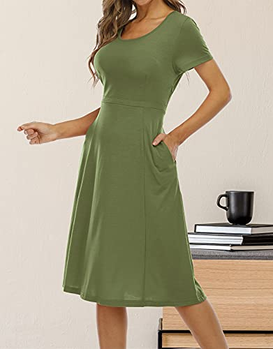 Gracyoga Women's Summer Casual Short Sleeve Dresses Partial Side Zip Closure High Waist Swing Flowy Dress with Pockets Army Green