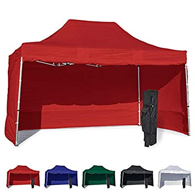 Vispronet 10x15 Instant Canopy Tent and 4 Side Walls – Commercial Grade Aluminum Frame with Water-Resistant Canopy Top and Sidewall – Bag and Stake Kit Included (Red) : Garden & Outdoor