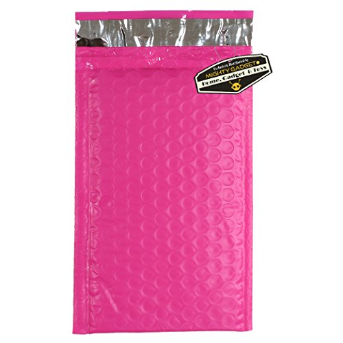 "Drawstring Bubble (50 Pack of Mighty Gadget (R) #000 4x8"" Hot Pink Poly Bubble Mailers - padded envelopes self seal)"