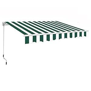 Greenbay Manual para toldo toldo | verde-blanco 3x 2,5m retráctil al aire libre Patio Jardín Sol sombra refugio completo con accesorios y manivela