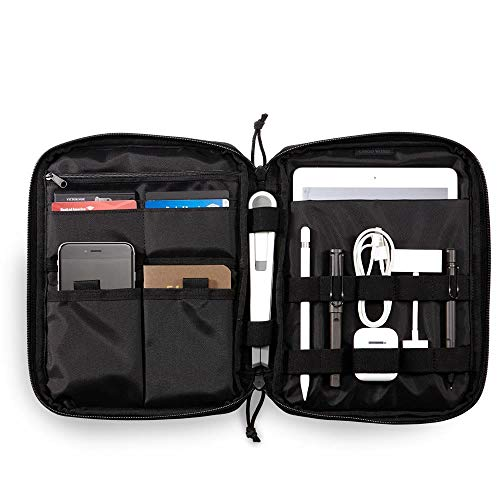Cargo Works iPad EDC Notecase,Travel Cable Organizer, Electronic Accessories Storage Bag, Portable Carrying Case Pouch for Hard Drives, USB Cables, Chargers, iPhone, iPad, Molle EDC Pouch, Black ()