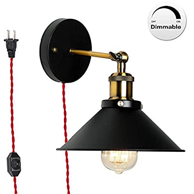 Kiven Dimmable Wall Sconce 1 Light Fixture E26 UL Certification, Plug-In Dimmer Switch Cord Lighting Vintage Industrial Loft Style Wall Lamp For Bathroom Dining Room Kitchen Bedroom, Bulb Included
