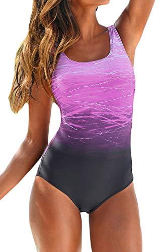 - One Piece Swimsuit Swimwear Bathing Suit for Women Summer Beach Stretch Scoop Neck Swimsuit Purple S