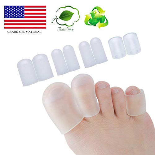 Gel Toe Cap and Protector - Cushions and Protects to Provide Relief from Missing or Ingrown Toenails, Corns, Blisters, Hammer Toes (Transparent)