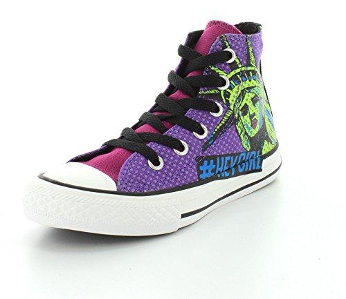 Converse Girls Chuck Taylor All Star American Icon Pink Sapphire/Green Gecko/Allium Purple Sneaker - 4