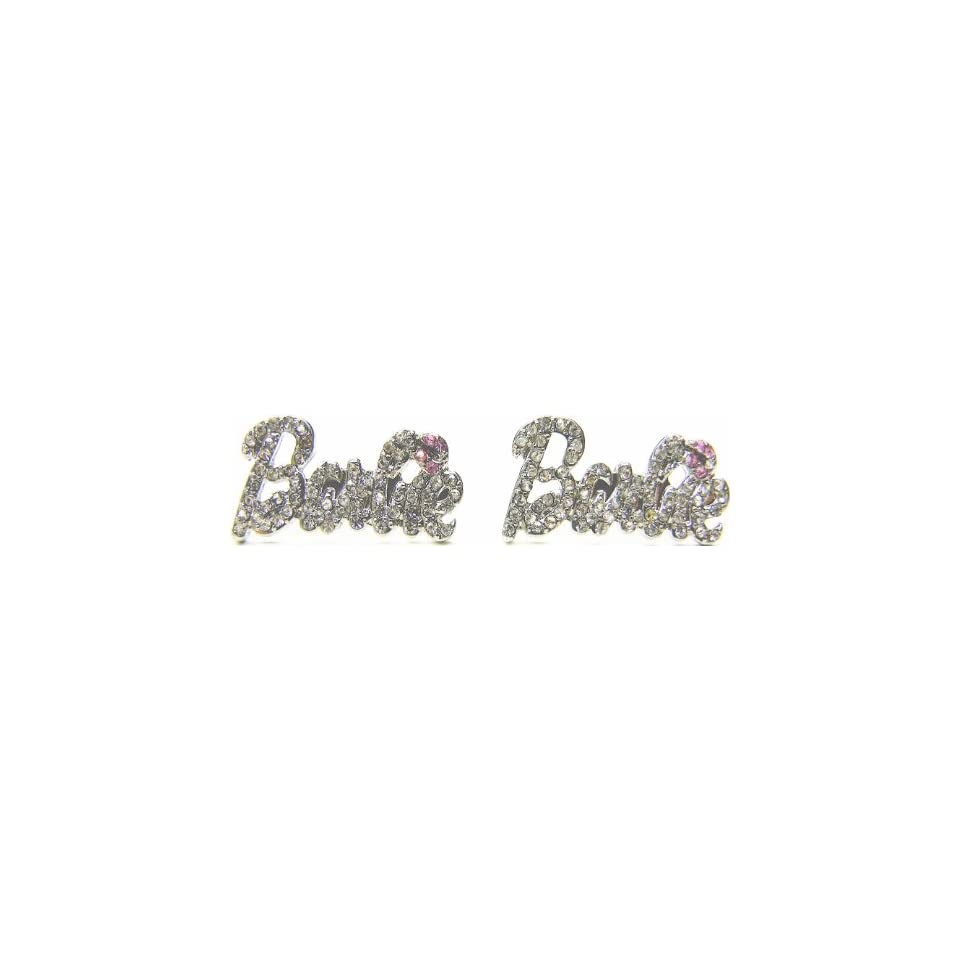 Nicki Minaj Barbie Silver Iced Out Crystal Earrings with Pink Lips
