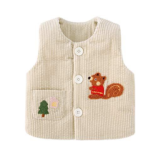 pureborn Toddler Unisex Baby Cartoon Squirrel Corduroy Vest Quilt Lined Waistcoat Khaki 3-4 Years