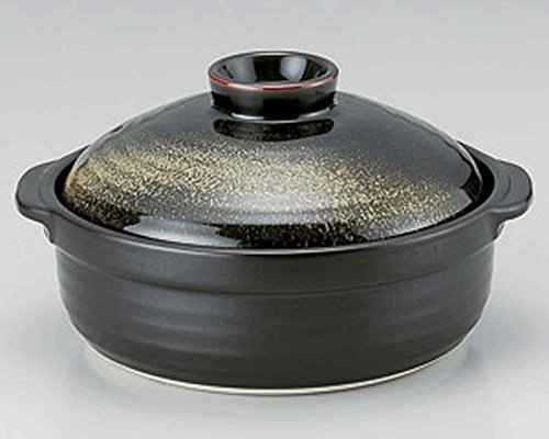 Kinka for 4-5 persons 11.7inch Donabe Japanese Hot pot Black Ceramic Made in Japan by Watou.asia