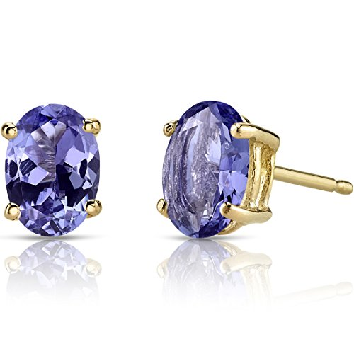 14K Yellow Gold Oval Shape 1.50 Carats Tanzanite Stud ()